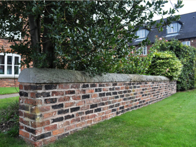 Garden wall attached to Lawsons Farmhouse