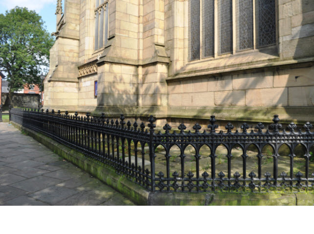 Railings encircling Church to S & W