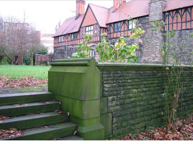 Wigan Hall Terrace walls and steps forming west boundary to garden of Wiga